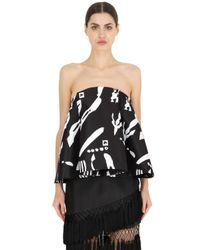Cameo | Black Night Changes Printed Bustier Top | Lyst