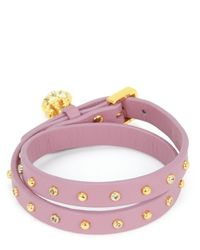 Juicy Couture | Purple Studded Leather Double Wrap Bracelet | Lyst