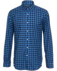 Browns - Blue Checked Cotton Shirt for Men - Lyst