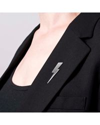 Edge Only | Metallic Flat Top Lightning Bolt Lapel Pin Silver | Lyst
