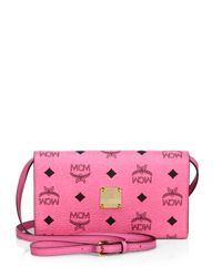 MCM - Pink Color Visetos Coated Canvas Crossbody Wallet - Lyst