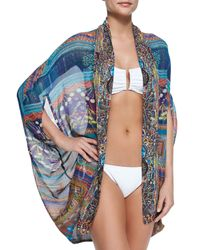 Camilla - Blue Open-Front Cardigan/Cape Coverup - Lyst