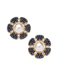 kate spade new york | Metallic New York Goldtone Navy Bead Imitation Pearl Stud Earrings | Lyst
