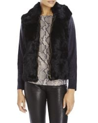 Surell - Black Real Long Hair Rabbit Fur Vest - Lyst