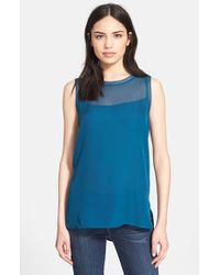 VINCE | Blue Sheer Inset Tank | Lyst