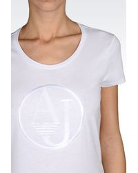 Armani Jeans - White T-Shirt In Cotton Jersey With Logo - Lyst