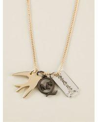McQ - Metallic Charm Pendant Necklace - Lyst