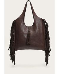 Frye | Brown Farrah Fringe Leather Hobo Bag | Lyst