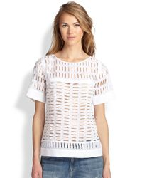 Rebecca Taylor White Voile Eyelet Top