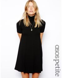 ASOS | Black Exclusive High Neck Swing Dress with Short Sleeves | Lyst