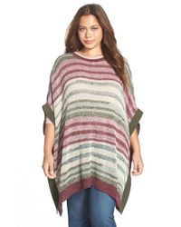 Two By Vince Camuto - Purple Marled Intarsia Stripe Poncho - Lyst