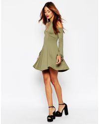 ASOS - Pink Skater Dress With Cold Shoulder And Keyhole Cutout - Lyst