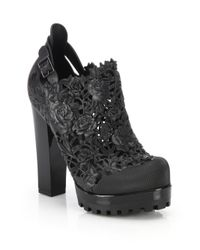Melissa | Black Ah Floral Cutout Platform Booties | Lyst
