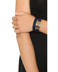 Tory Burch - Blue Kinsley Double Wrap Bracelet Tory Navyshiny Brass - Lyst