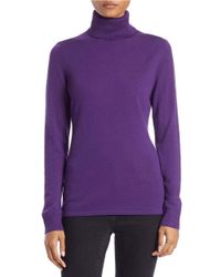 Lord & Taylor | Blue Petite Merino Wool Turtleneck Sweater | Lyst