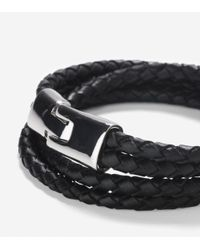 Cole Haan | Black Braided Leather Strap Bracelet With Magnet Closure | Lyst