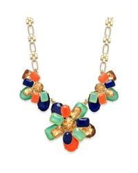 kate spade new york | Metallic New York Goldtone Palace Gem Colorful Stone Frontal Necklace | Lyst
