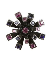 Lanvin | Metallic Gunmetal And Purple Metal And Crystal 'Medals' Brooch | Lyst