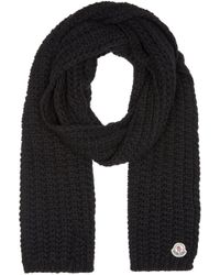 Moncler | Black Knit Scarf | Lyst