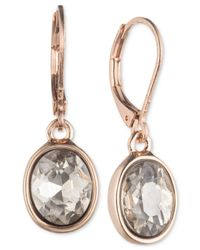 Anne Klein - Pink Rose Gold-tone Crystal Leverback Earrings - Lyst