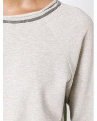 Brunello Cucinelli - Natural Beaded Necklace Sweatshirt - Lyst