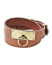 Michael Kors | Brown Leather Wrap Bracelet | Lyst