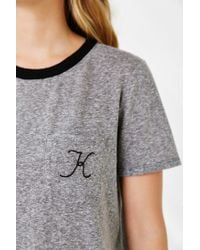 Truly Madly Deeply | Gray Initial Pocket Ringer Tee | Lyst