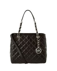 MICHAEL Michael Kors | Black Susannah Small Quilted Leather Tote | Lyst