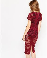 ASOS - Purple Placement Lace Body-conscious Midi Dress - Lyst