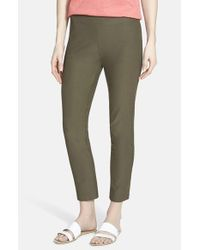 Eileen Fisher | Green Stretch Crepe Ankle Pants | Lyst