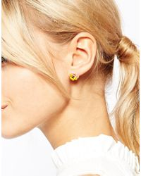 Les Nereides - Pink Pansy Drop Earrings - Lyst