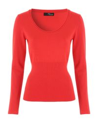 Jane Norman | Red Deep Rib Scoop Jumper | Lyst