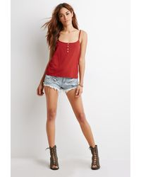 Forever 21 - Brown Buttoned Tie-back Cami - Lyst