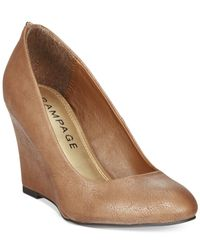 Rampage | Brown Keaton Zip Back Wedges | Lyst