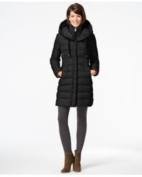 Tahari | Black Knit-collar Packable Down Coat | Lyst