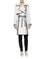 Lanvin - White Grosgrain-trimmed Faille Trenchcoat for Men - Lyst