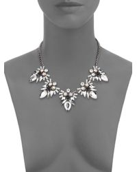 Cara - Metallic Mixed Stone Five-drop Statement Necklace/silvertone - Lyst