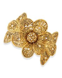 Jose & Maria Barrera | Metallic Gold-plated Flower Bracelet With Crystals | Lyst