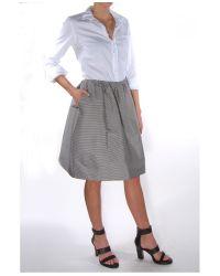 Jil Sander Navy - Gray Gonna Stripe Cinch Waist Skirt - Lyst