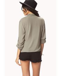 Forever 21 - Green Plunging Neckline Top - Lyst