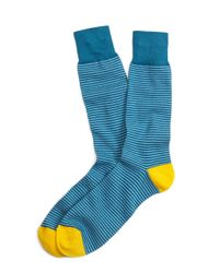 Brooks Brothers | Blue Color-block Stripe Crew Socks for Men | Lyst