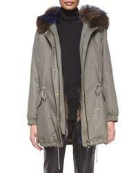 Vince - Gray Parka Jacket With Fur-trim Hood - Lyst