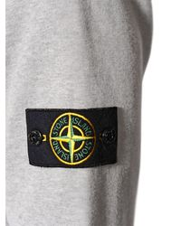 Stone Island | Gray Hooded Cotton Sweatshirt for Men | Lyst