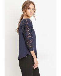 Forever 21 - Blue Crochet-paneled Dolman Top - Lyst
