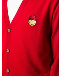 AMI - Red Smiley Face Patch Cardigan for Men - Lyst