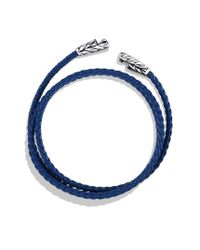 David Yurman - Chevron Triple-wrap Bracelet In Blue for Men - Lyst