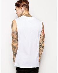 ASOS - White Longline Sleeveless T-shirt With Dropped Armhole And Skater Fit for Men - Lyst
