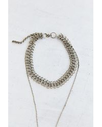 Urban Outfitters - Metallic Hammered Pendant High/Low Choker Necklace - Lyst