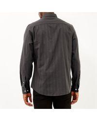 River Island - Gray Grey Stripe Long Sleeve Shirt for Men - Lyst