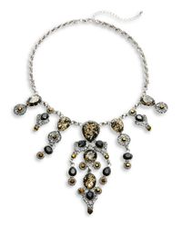 Lord & Taylor - Black Stone And Pave Statement Necklace - Lyst